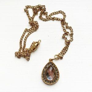 Gorgeous gold & gray gemstone teardrop necklace
